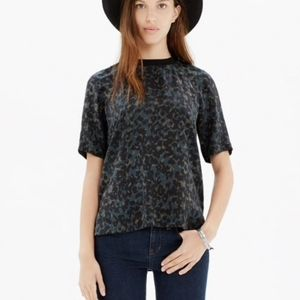 MADEWELL Silk Front Row Tee Ink Spy Leopard